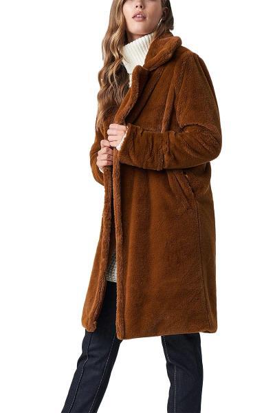 Rut   Circle Luna faux-γούνα παλτό καφέ - 1031-005486-0315 ad0281b6646