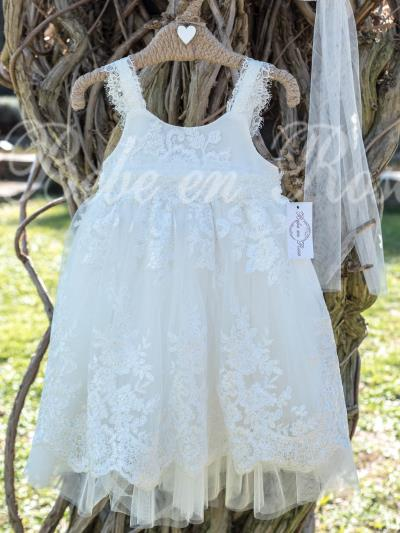 940e7d990ee Bebe en Rose Βαπτιστικό Φόρεμα Εκρού 913