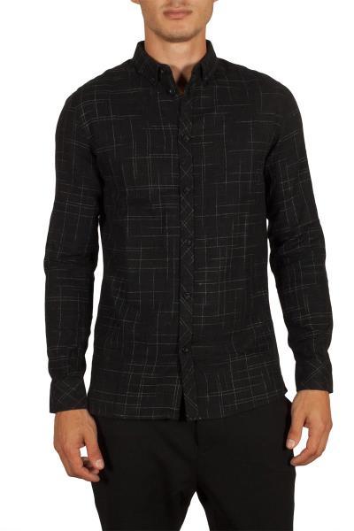 b105c3367e40 Anerkjendt Daxon ανδρικό πουκάμισο μαύρο - 9417011