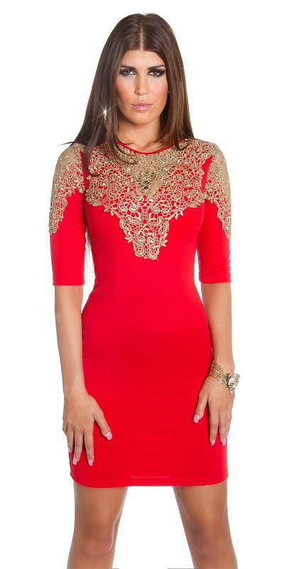 e0a368004271 41681 FS Μίνι φόρεμα με χρυσή δαντέλα - κόκκινο