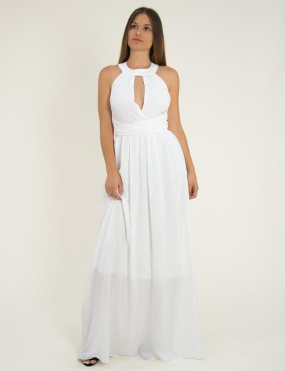 5b57da9c6f83 Γυναικείο μάξι φόρεμα εξώπλατο με κολάρο λευκό μονόχρωμο 8222220D