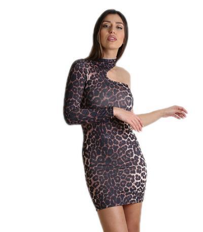 Φόρεμα ελαστικό με ένα μανίκι (Λεοπάρ) c61fe02f52c