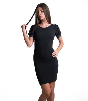Εξώπλατο φόρεμα με φιόγκο πίσω και λεπτομέρειες δερματίνη ce8e7d93f93