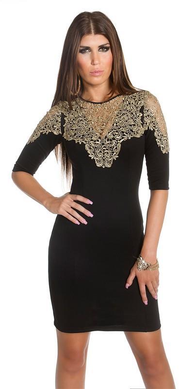 48047e3278f1 41682 FS Μίνι φόρεμα με χρυσή δαντέλα - μαύρο
