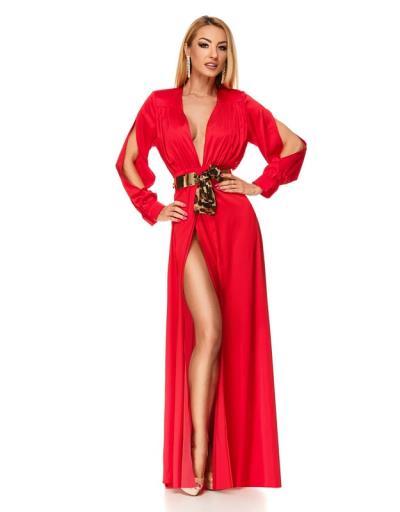 9198 RO Μάξι σατέν φόρεμα με έντονο σκίσιμο και ζώνη - Κόκκινο 24d2a73db8f