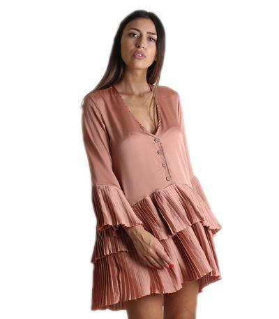 44074fc21f44 Φαρδύ φόρεμα με πλισέ λεπτομέρειες και κουμπιά (Ροζ)