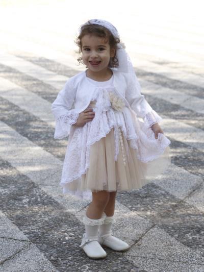 0379a8f784d New Life Βαπτιστικό Φόρεμα και Μπολερό Μπεζ 2336-3