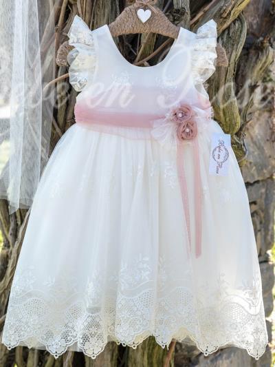 cec9509a407 Bebe en Rose Βαπτιστικό Φόρεμα Εκρού 928