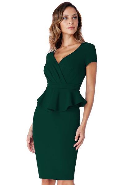 61c9045de812 chic business peplum φόρεμα forest green