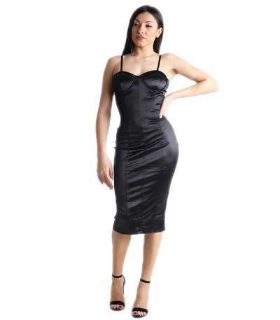 6ee58fd5d8bf Σατέν φόρεμα midi με ρυθμιζόμενες τιράντες και επένδυση (Μαύρο)