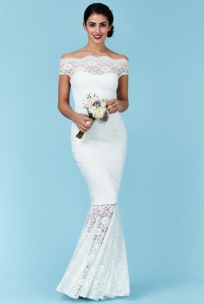 dea7ef09275b bridal maxi φόρεμα bardot deep white lace