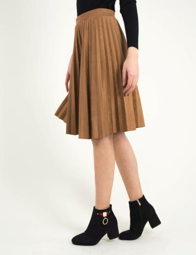 Γυναικεία καφέ καστόρινη πλισέ φούστα midi 18780 7c8baf230a9