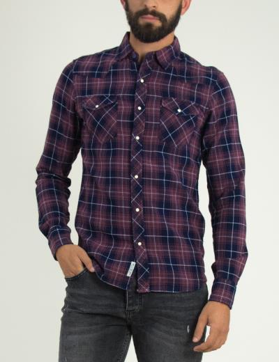 Ανδρικό κόκκινο καρό πουκάμισο μακρυμάνικο γιακάς 54055Q 71804b9b36f