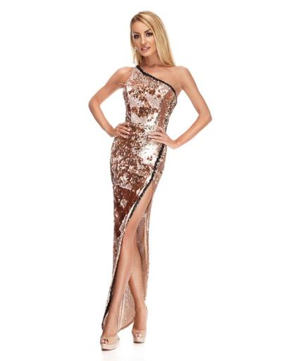 fc1bcf265e20 9206 RO Βραδινό μάξι φόρεμα με παγιέτες - Χρυσό ροζ