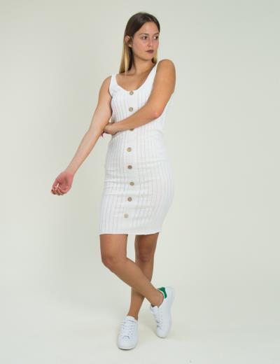 Γυναικείο λευκό μάλλινο φόρεμα ριπ με κουμπιά 6842K 145f0326cc7