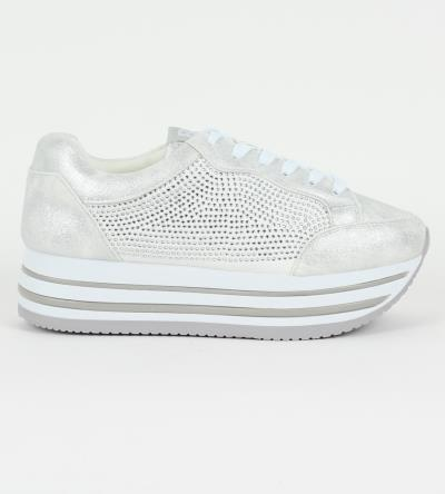 e2aefd94896 Δίπατα slip-on sneakers με στρας & κορδόνι Xti X41503