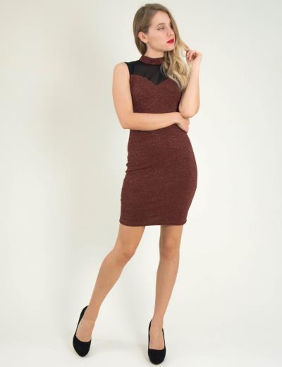 Γυναικείο καφέ αμάνικο φόρεμα Lurex διαφάνεια 8382174L 44aad66107a