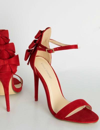 67f42cc810d Γυναικεία κόκκινα ψηλοτάκουνα πέδιλα σουέντ φιογκάκια D1226