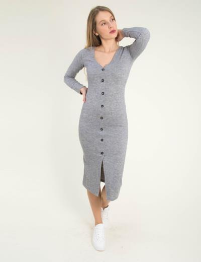 40bdddc8ed6d Γυναικείο γκρι μάλλινο maxi φόρεμα κουμπιά Cocktail 014100059