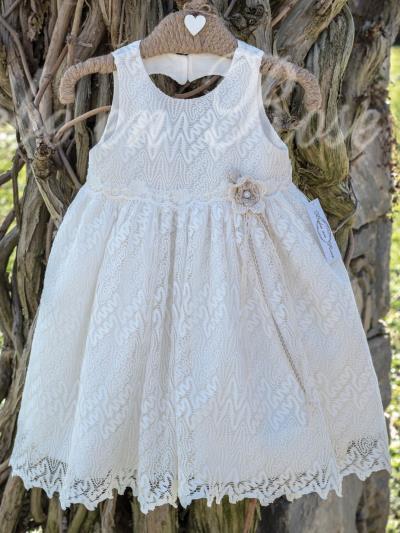 113194bd9ec Bebe en Rose Βαπτιστικό Φόρεμα Εκρού 943