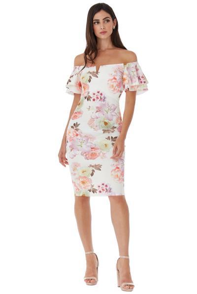 7216edb22aed Μίντι floral φόρεμα με ελεύθερους ώμους - Άσπρο