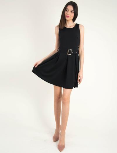 Γυναικείο μαύρο αμάνικο κλος φόρεμα ζωνάκι 2285L 2768c85b7c3