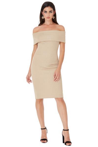 85fa5f2eb665 Μίντι φόρεμα με ελεύθερους ώμους - Μπέζ