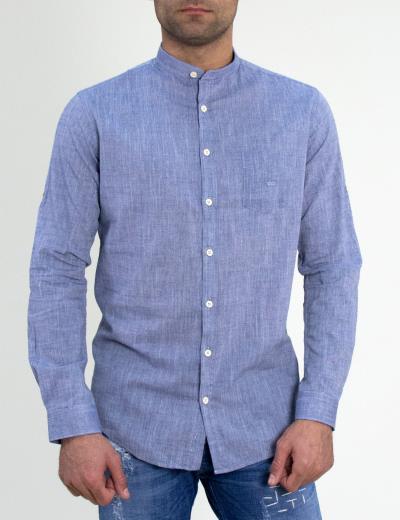 Ανδρικό λινό πουκάμισο GioS μπλε μάο γιακάς 922018 c4f9a2a2120