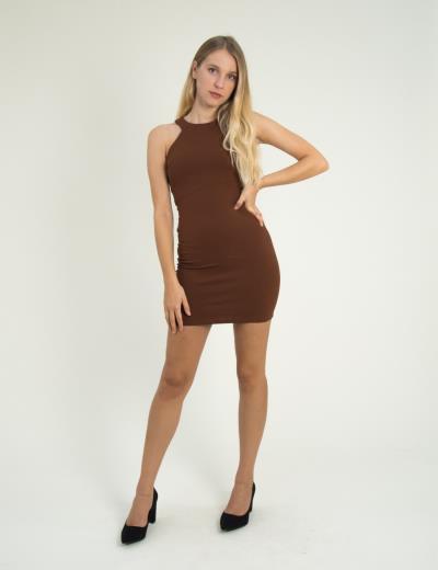 Γυναικείο καφέ ελαστικό φόρεμα Cocktail 014100001F 2fda8abc547