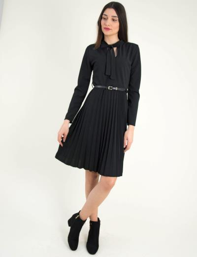 Γυναικείο μαύρο κλος πλισέ φόρεμα κορδέλα λαιμός 937885G 5f0e41086fd