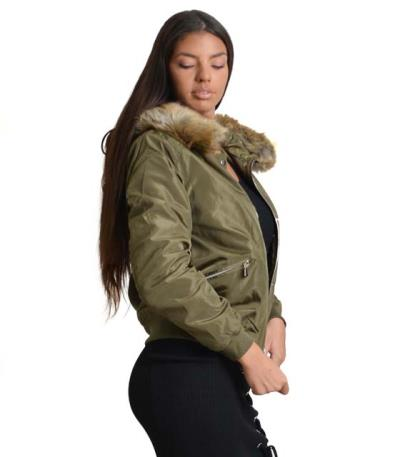c7179bb86e1 Χακί jacket με αποσπώμενη γούνα και κουμπιά