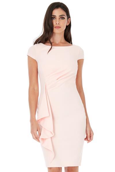 Φόρεμα μίντι με βολάν στο μπροστινό μέρος - Ροζ Ανοιχτό 5035ba2790a