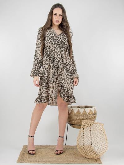 bf1cff9ddac6 Κρουαζέ φόρεμα animal print σε καφέ αποχρώσεις