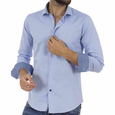 Ανδρικό Μακρυμάνικο Πουκάμισο Slim Fit ENDESON CLUB 6035-100 Sky Blue c12bb548b4c