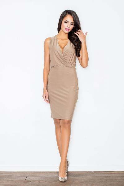 9c3275fdd121 Μίνι φόρεμα με βαθύ ντεκολτέ - Μπεζ