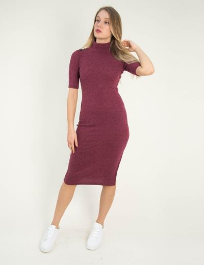 9989f198fcf4 Γυναικείο μπορντό ριπ μάλλινο φόρεμα Cocktail 014100072L