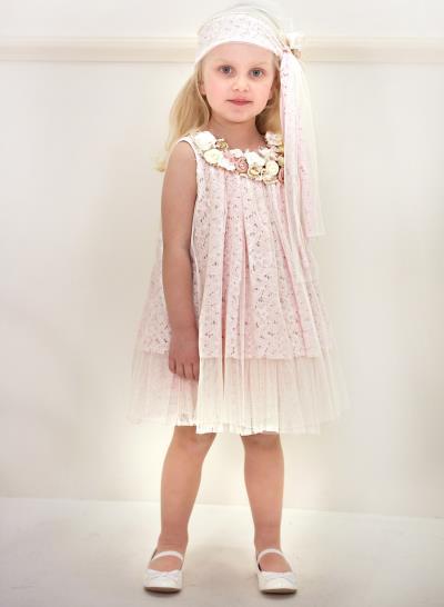 c019bf1b652 Φόρεμα Βάπτισης Από Ροζ Δαντέλα Με Τούλι Κωδ:11989