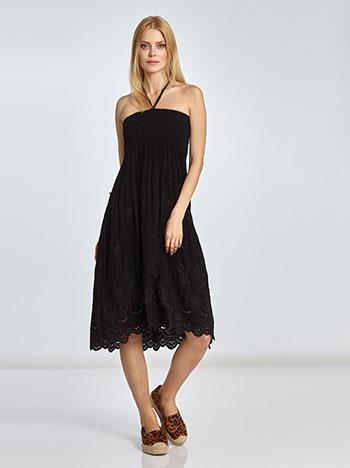 1050e2f505e6 Midi φόρεμα-φούστα με σφηκοφωλιά και κέντημα SE1666.2265+6