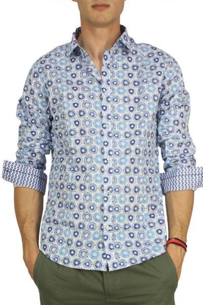 Ανδρικό πουκάμισο με μπλε-γαλάζιο πριντ - bc-s16129-bl 979e47e0a7d
