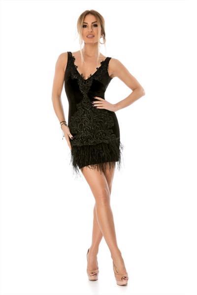 3a1da3fef073 9288 RO Μίνι βελούδινο φόρεμα με κέντημα και φτερά - Μαύρο