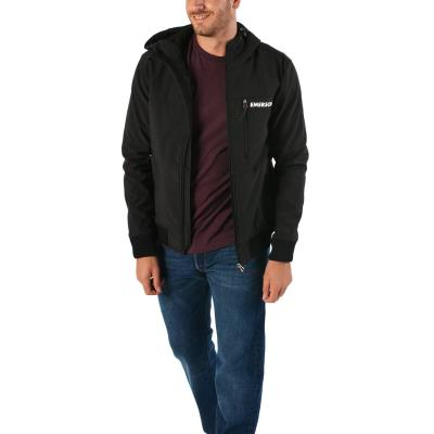 Emerson Men s Soft Shell Ribbed Jacket with Hood 182.EM11.34-001 - BD BLACK 751061f783c