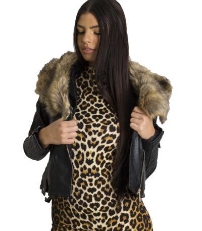 Jacket δερματίνη γυναικείο με καφέ γούνα γιακά 77ef953006d