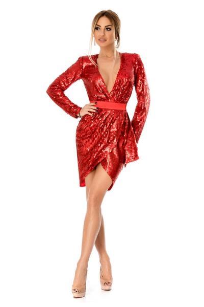 76ab65bc55ce 9290 RO Βραδινό μίνι φόρεμα με παγιέτες και βαθύ ντεκολτέ - Κόκκινο