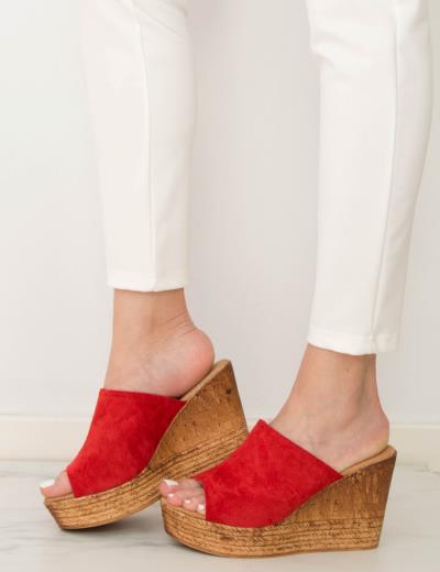 29e8d3c401f Γυναικεία κόκκινα Flatform Mules σουέντ JN3305