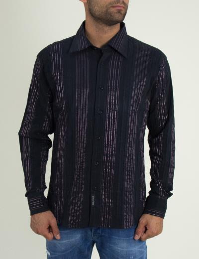 Ανδρικό πουκάμισο μώβ με ανάγλυφες ρίγες 391244 56a25698062