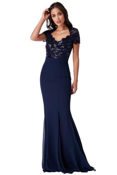 επίσημο glam φόρεμα mermaid Ines σε μπλε navy ea6d4193ff6