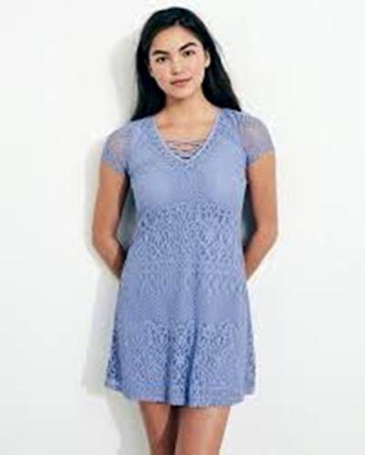 02fc34a5ad8b Φόρεμα κοντό   Γαλάζιο   Δαντέλα   Medium Hollister