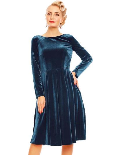 722b74d2dc68 vintage velvet φόρεμα Aurelia σε πετρόλ. Άμεσα διαθέσιμο