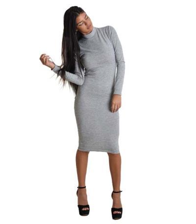 755b61c18ca3 Midi πλεκτό φόρεμα ζιβάγκο (Γκρι)