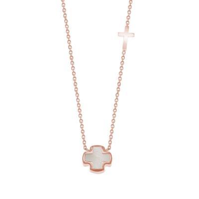 AMOR AMOR Κολιέ Από Ασήμι 925 Ροζ Επιχρυσωμένο Με Σταυρό TO10524 f004d2432a4